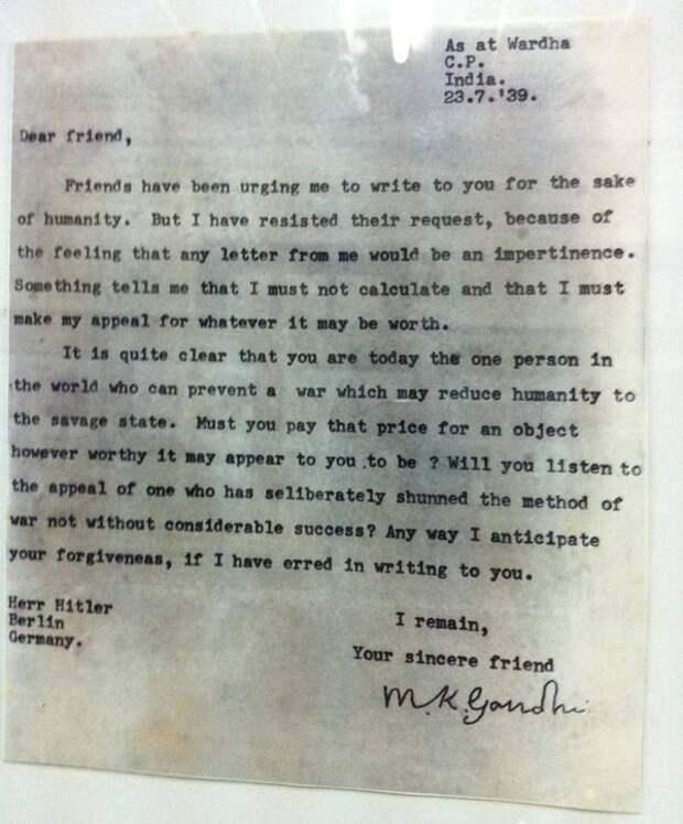 Письмо Ганди Гитлеру, 23/7/1939