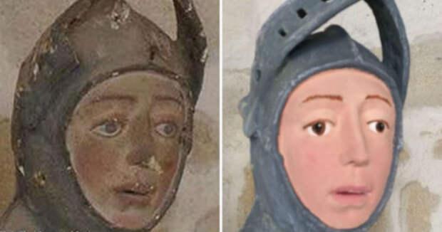 Георгий Победоносец повторил судьбу «Пушистого Иисуса»: скульптуру в испанской церкви отреставрировал учитель труда