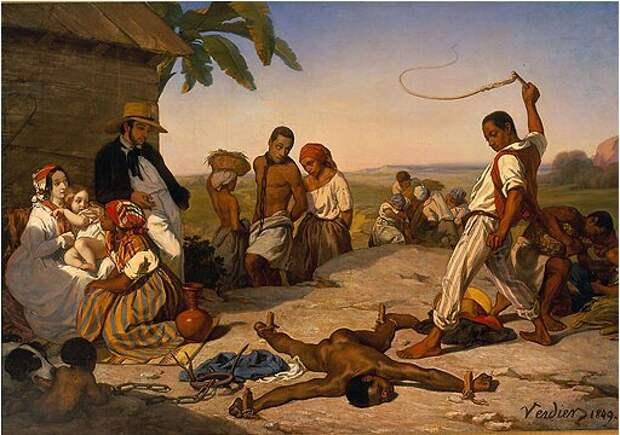 Марсель Вердье.Châtiment des quatre piquets dans les colonies. 1849