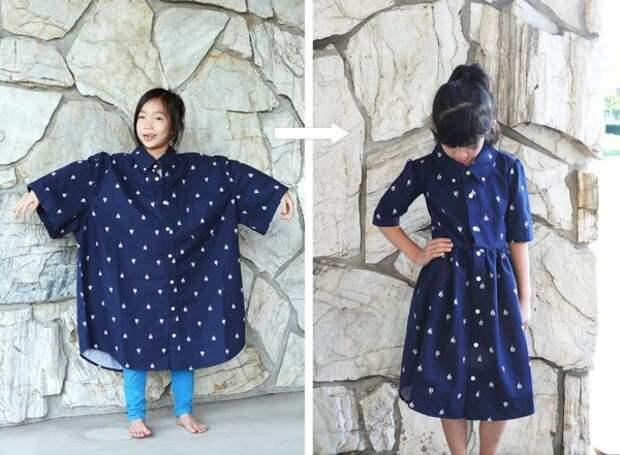 Глядя на эту огромную рубашку, сложно представить, что из неё получится такое милое девчачье платье.
