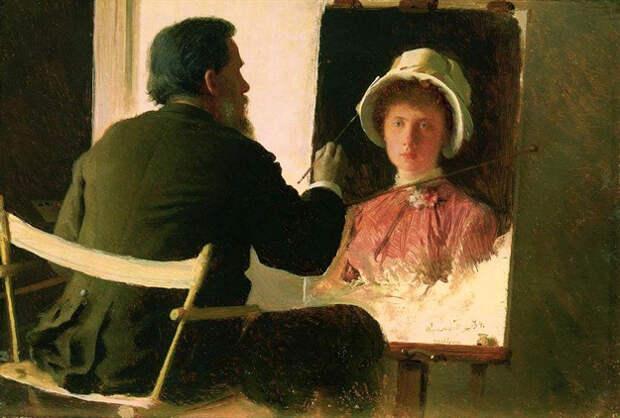 КРАМСКОЙ пишет портрет дочери Софьи (1884). Фото с сайта http://www.livejournal.com/