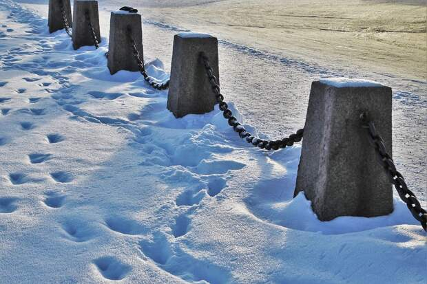 Зима, Перила, Снег, Перспектива, Пейзаж, Утром
