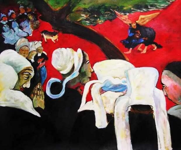 Поль Гоген 1888 г Видение после проповеди или Борьба Якова с ангелом
