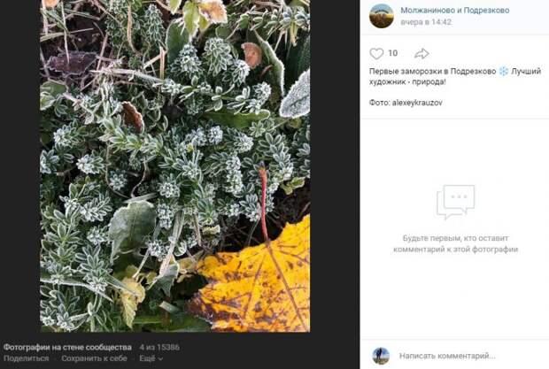 Фото дня: в Подрезково пришли первые заморозки