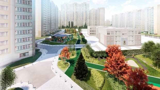 """Двор планируют озеленить кленами трех видов: зеленым, красным и кустовым. Фото: Пресс-служба проекта """"Мой район"""""""