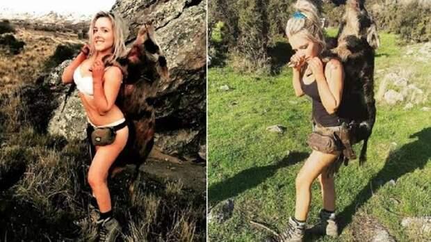 Охотницу жестко раскритиковали за публикацию откровенных фотографий с добычей