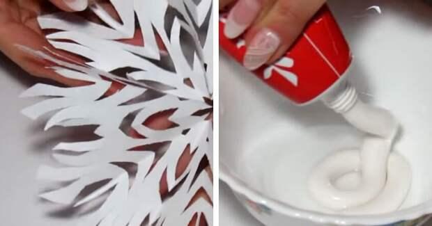 Волшебный новогодний декор с помощью зубной пасты и воды. Просто и красиво