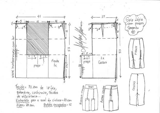 Выкройка юбки-карандаш со складками