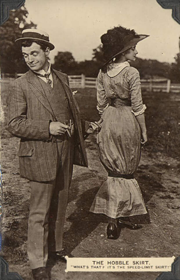 Открытка. Около 1911 года. - Хромая юбка. Что это? — Это юбка с ограничением скорости.