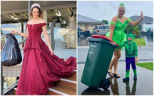 Парадный выход: во время карантина люди выносят мусор в вечерних платьях и смешных костюмах