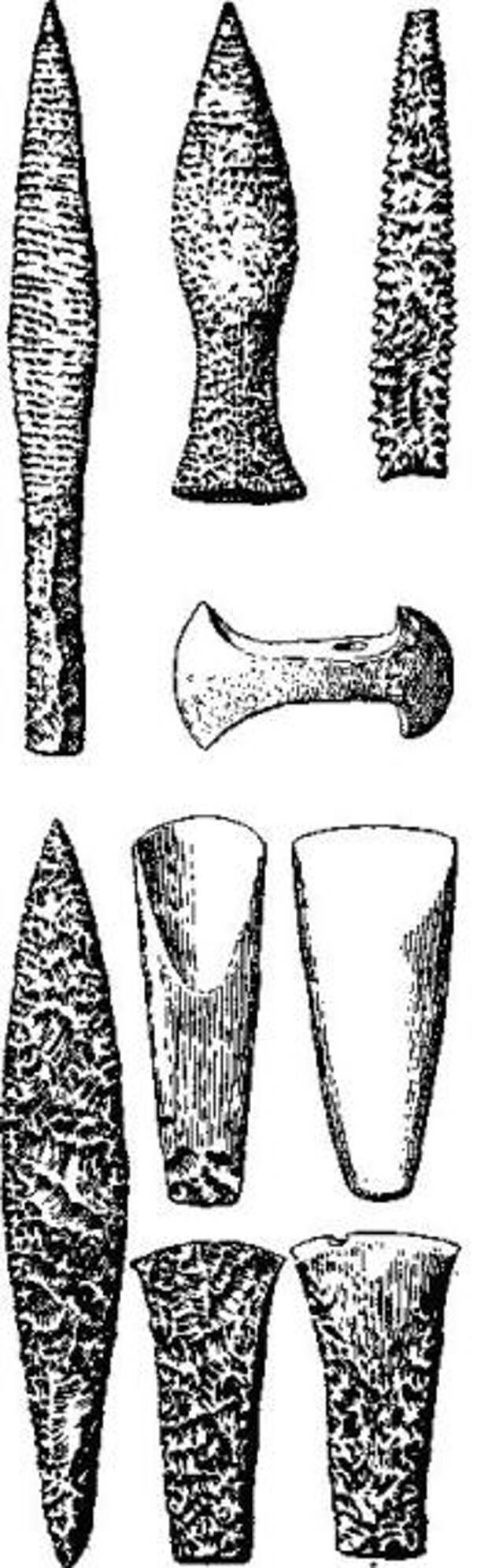 Неолитические орудия из Скандинавии (по де Моргану)