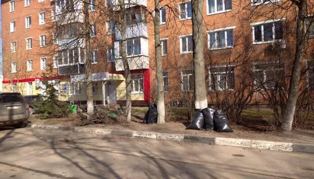 Уборка придомовых территорий от накопившегося мусора началась в Подольске