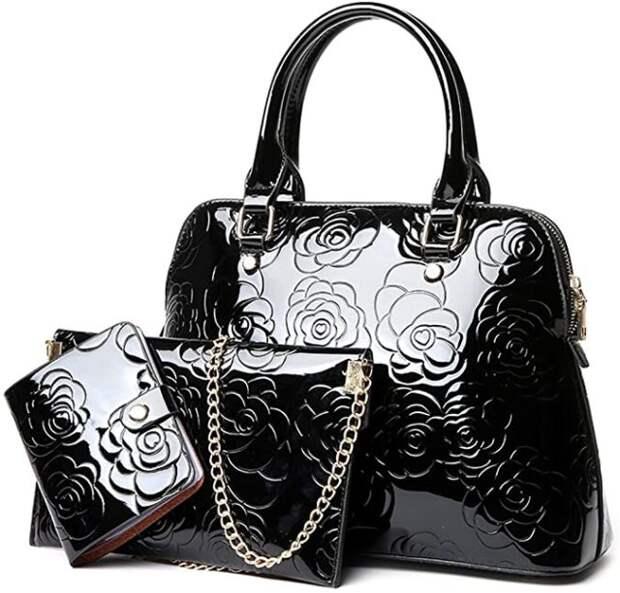 две черных сумки и кошелек