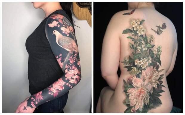 Шедевры на теле: изысканные цветочные татуировки от Эстер Гарсии