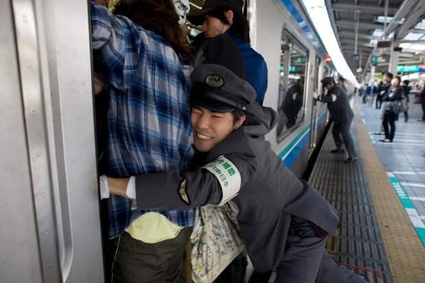 Заталкиватель в токийском метро - веселая профессия, однако! автобус, люди, метро, общественный транспорт, работа, электричка