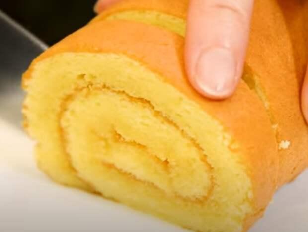 Простой бисквитный рулет к чаю. Лучше торта и готовь хоть каждый день