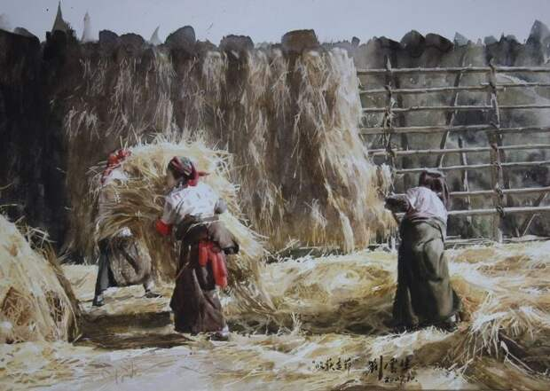 Китайский художник Liu Yunsheng. АКВАРЕЛИ.