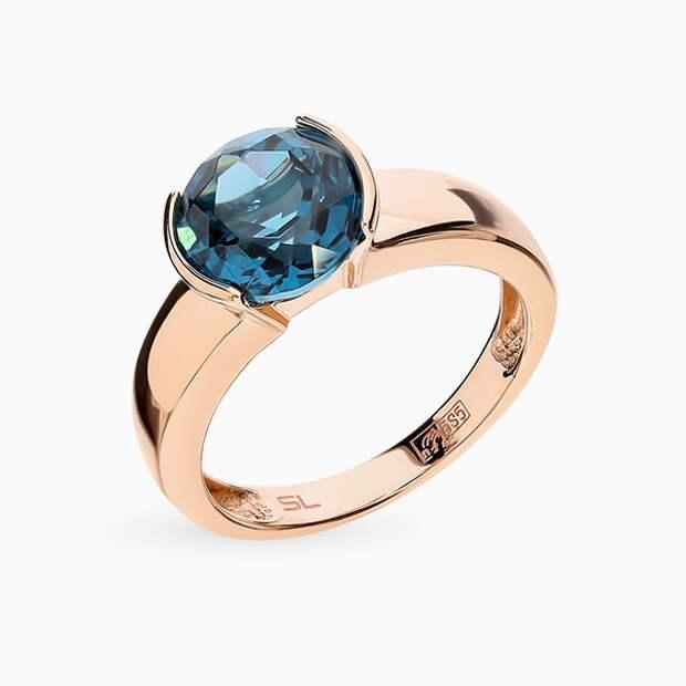 Кольцо SL, розовое золото, топаз