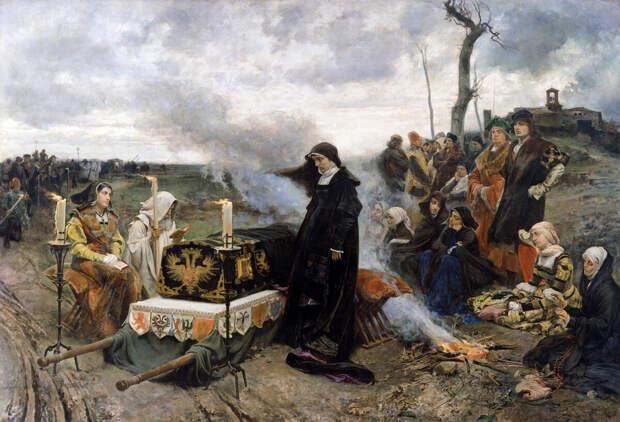 Собственно процесс туристической поездки по Испании. «Хуана над гробом мужа». Ф.Прадилья. 1877.