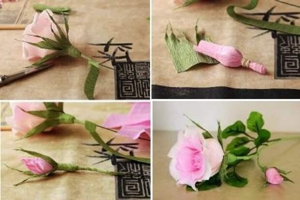 Можете сделать еще одни маленький нераспустившийся бутон розы, которые потом закрепите на одном стебле.