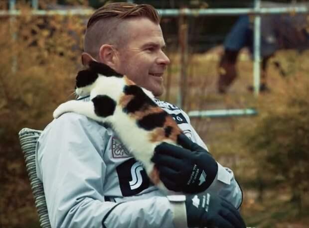 """""""Хочу в телевизор!"""" Трехцветная кошка сорвала интервью хозяина и расцеловала его на глазах у всего мира)"""