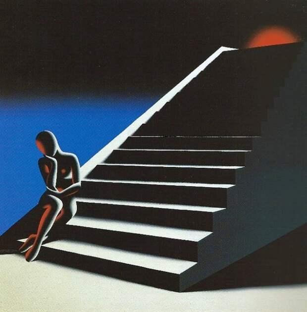 Картины с безликими фигурами. Mark Kostabi