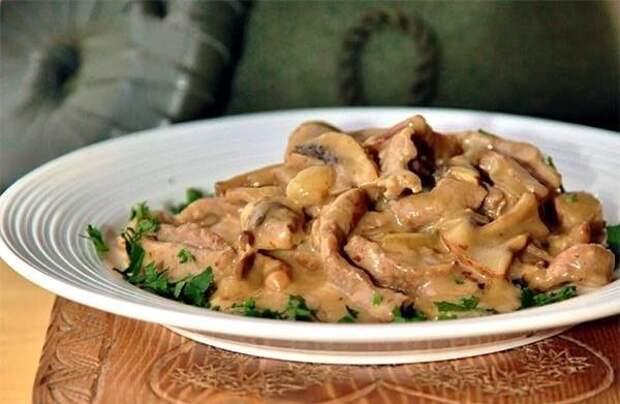Вкусная телятина с грибами по цюрихски.