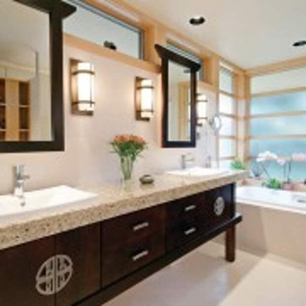 Деревянная мебель в восточном стиле в ванной
