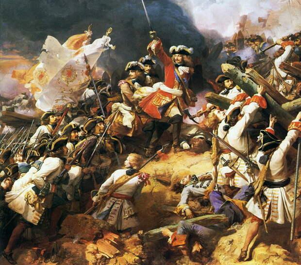 Маршал Виллар ведёт французов в атаку при Денене. Художник Жан Ало - Шпион, выйди вон | Warspot.ru