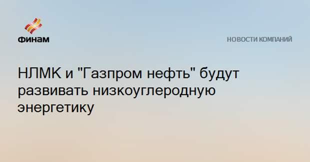 """НЛМК и """"Газпром нефть"""" будут развивать низкоуглеродную энергетику"""