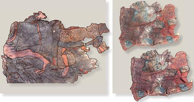 Фрагменты шелковой (вверху) и шерстяной (справа) ткани с вышивкой и ее прорисовки по ткани. 20-й ноин-улинский курган. Выполнено Е. Шумаковой