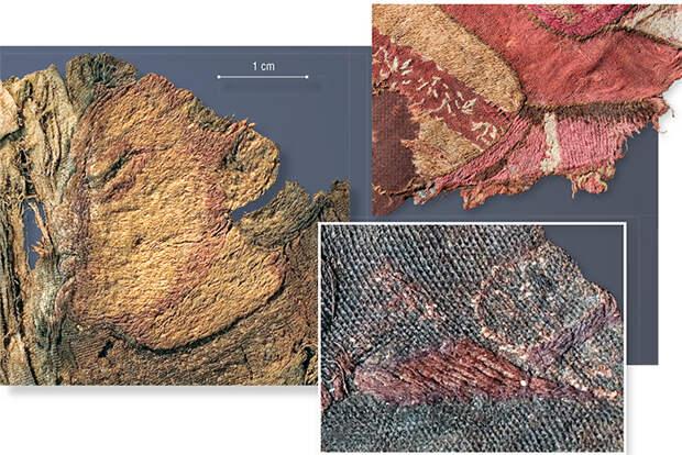 Слева: Повелитель драконов. Фрагмент вышивки на шелковой ткани. 20-й ноин-улинский курган. Деталь вышивки ноги в пышных шароварах и мягкой обуви на шерстяной завесе (вверху) и на шелковой ткани (внизу). 20-й ноин-улинский курган