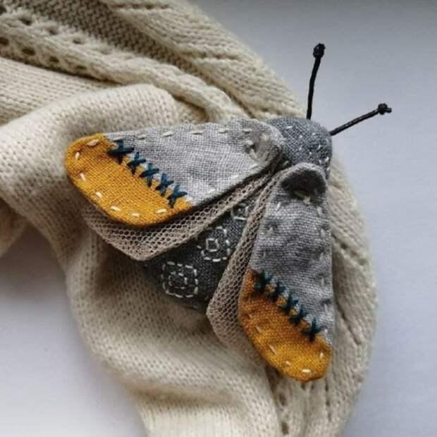 Милые текстильные броши