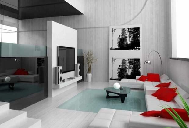 Изысканный интерьер гостиной комнаты в минималистском стиле с контрастными красными элементами.