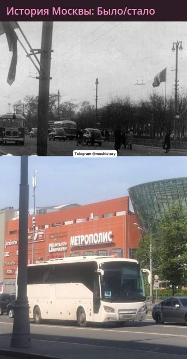 Фото дня: территория торгового центра на Ленинградке с разницей в 62 года