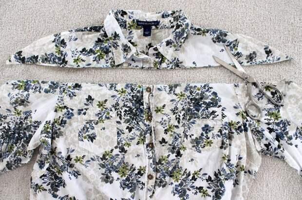Блузка с открытыми плечами из рубашки Diy
