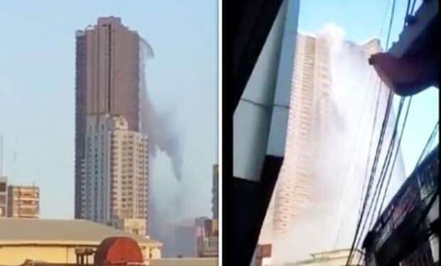 Бассейн вылился с крыши небоскреба: случайное видео прохожих