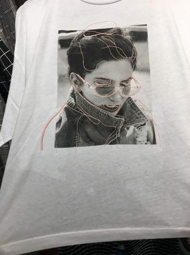 Вышивка по фото на футболке