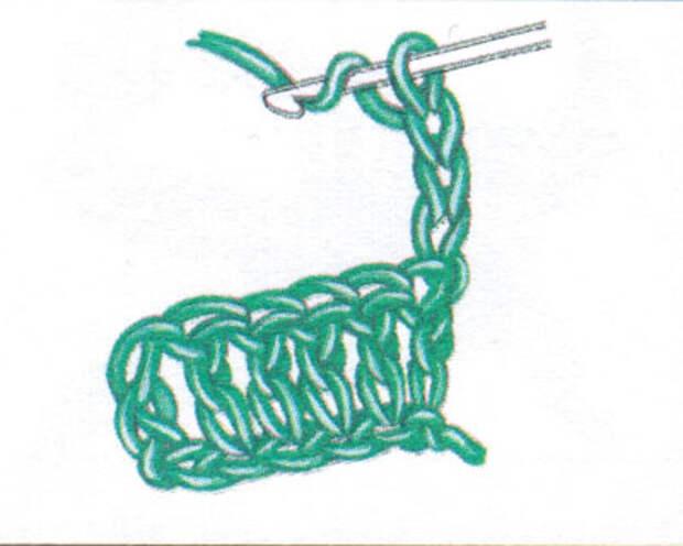 Как начинать следующий ряд, если сначала идет столбик с накидом (фото 1)