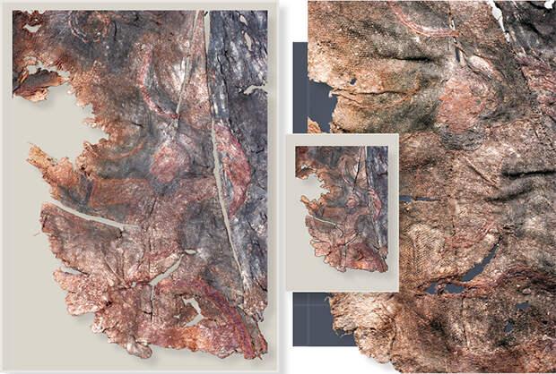 Шелковая ткань с вышивкой – «Третий персонаж». Справа – увеличенный фрагмент и прорисовка по шелковой ткани. 20-й ноин-улинский курган