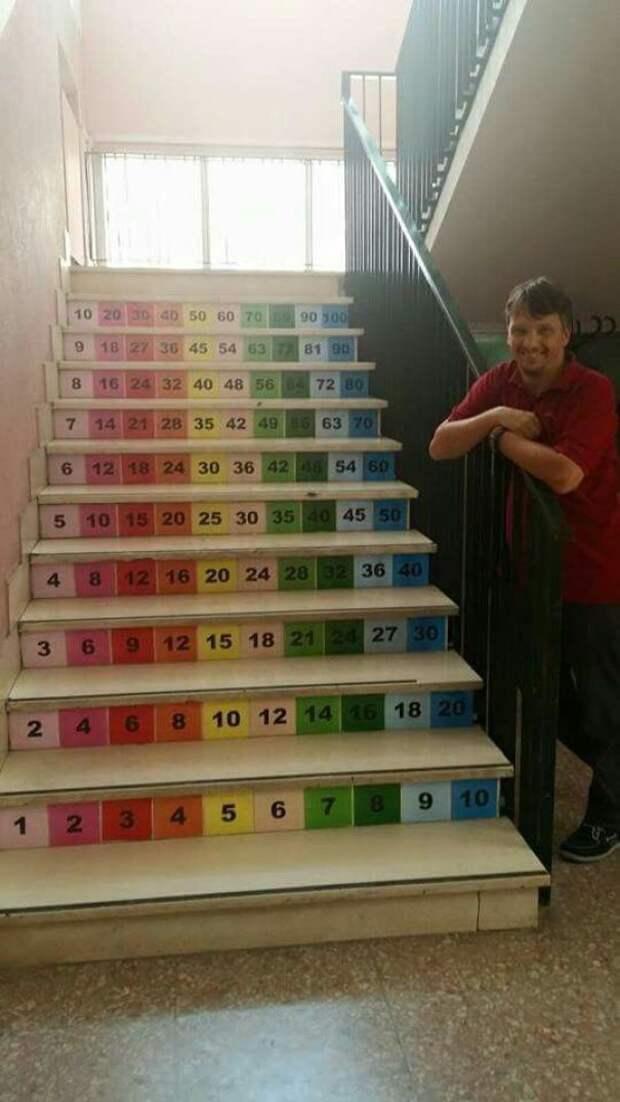 Лестница с таблицей умножения