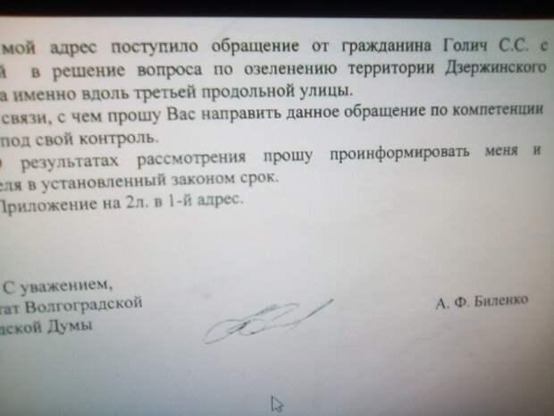 Фото из письма-ответа.