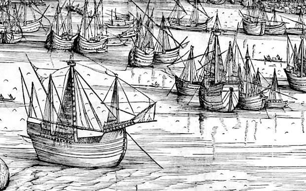 Транспортные нефы в гавани Венеции в 1500 году. Фрагмент рисунка Джакопо де Барбари - Превеза: сборы, споры, штурм, разведка | Военно-исторический портал Warspot.ru