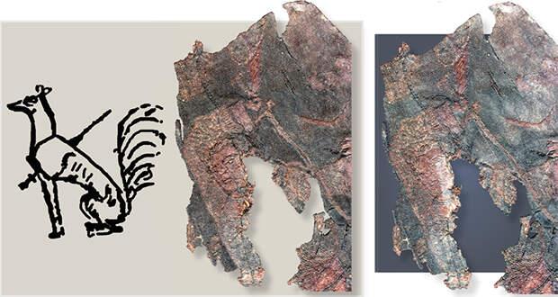Слева: Прорисовка изображения девятихвостой лисы, пронзенной мечом, – божественной эмблемы богини Сиванму на ханьском барельефе. Окончание рукояти и перекрестие меча у воина на шелковой вышивке из 20-го ноин-улинского кургана подобны тем, что на этом изображении. Выполнено Е. Шумаковой. Фрагмент шелковой ткани с вышивкой – «Четвертый персонаж» (справа). В центре – прорисовка по шелковой ткани фигуры воина. 20-й ноин-улинский курган