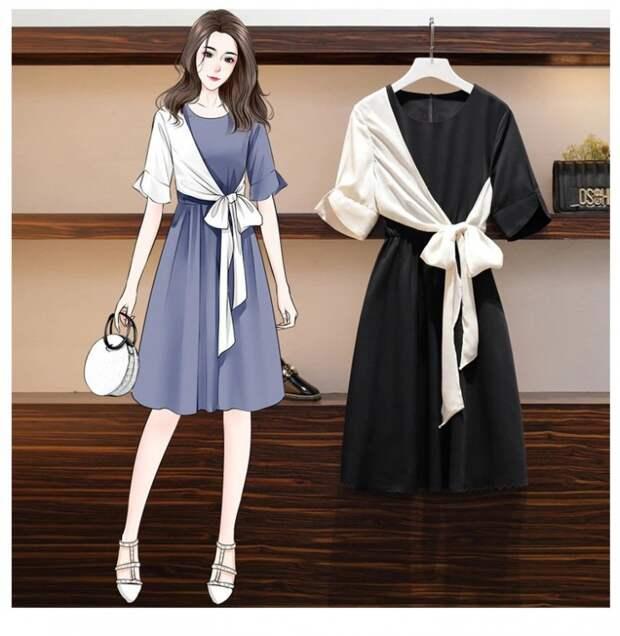 Платье с рукавом и драпировкой