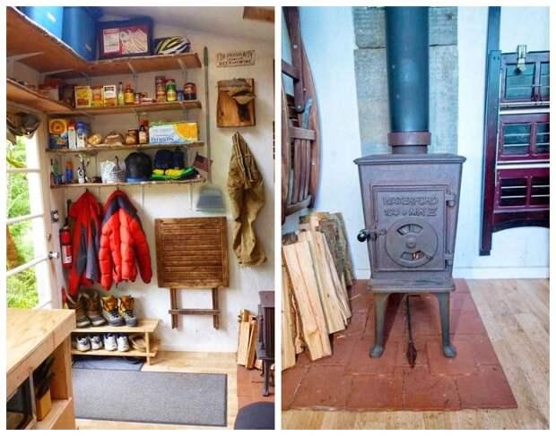 В холодную пору дом отапливается помощью дровяной печи («Крошечный дом-трансформер»).   Фото: hronika.info.