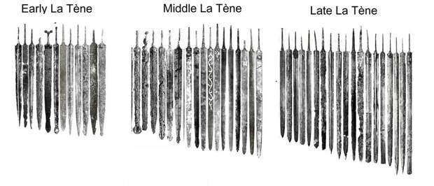 Эта иллюстрация даёт хорошее представление о том, как изменялись размеры галльских мечей между V и I веками до н. э. - Экипировка античных воинов: галлы | Военно-исторический портал Warspot.ru