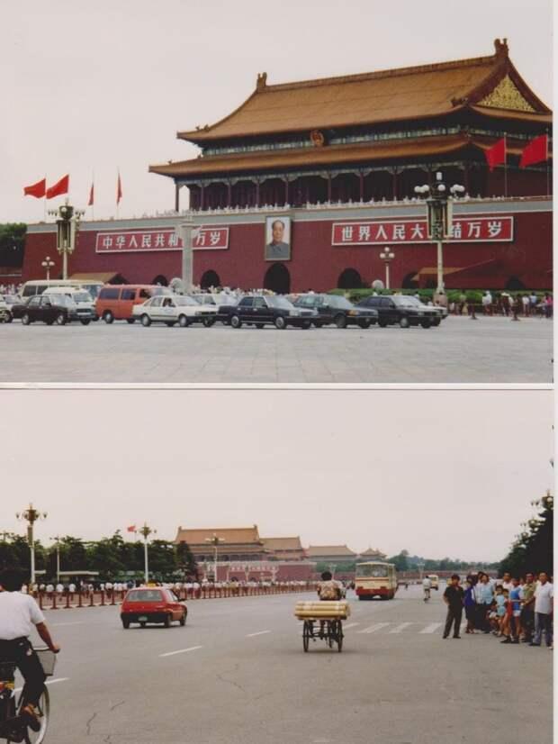 В Пекине главный проспект в 1992-м выглядел всё ещё пустовато: 1992, СССР, дорожное движение, капиталистические страны, прошлый век, соц. страны, страны третьего мира, улицы