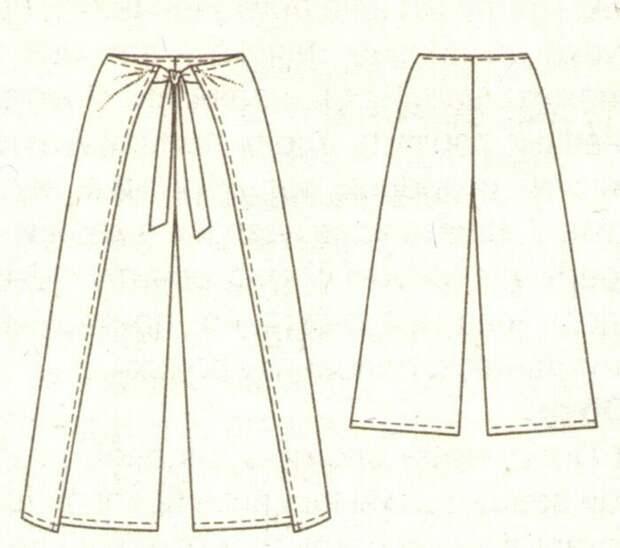 Выкройка летних брюк на запАх