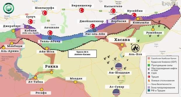 Карта военных действий на северо-востоке Сирии